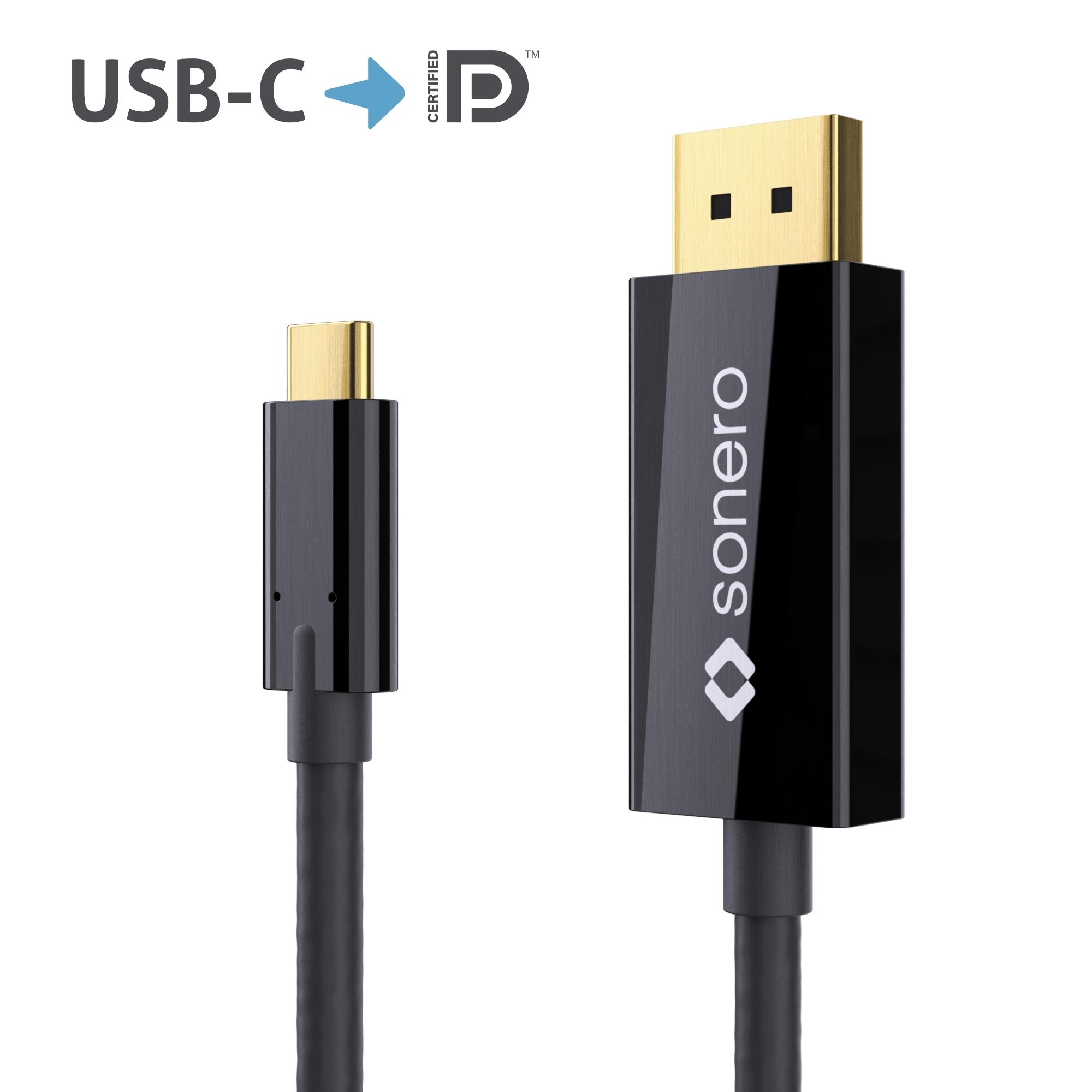 sonero USB-C auf DP Kabel - DP Mode - 4K60 - 1,50m - schwarz | USB ...